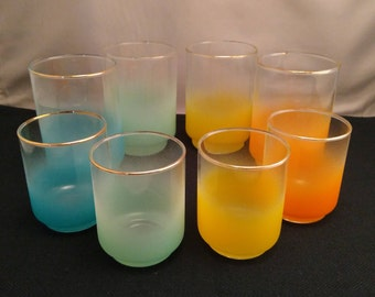 Set of 8 Blendo Style Libbey Glasses, Four 10oz. Tumblers and Four Matching 6oz. Juice Glasses, Blue, Aqua, Yellow, Orange