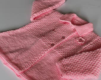 """Handknitted Vintage Style Baby Coat, to fit up to 9 mths approx, 20"""" chest, unique baby coat, pink baby coat with flower decoration,"""