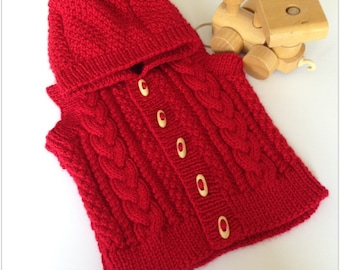 Hand knitted Boys Hooded Aran Gilet in red, one only, to fit 6 - 12 months approx, natural wooden toggle fastenings, immediate shipping