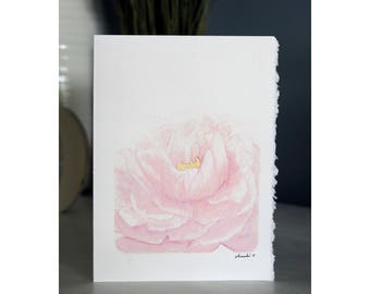 Pink and Gold Peony Card