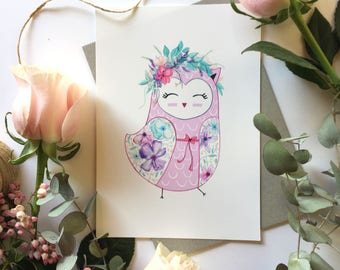 Owl Print (Spring Owl)