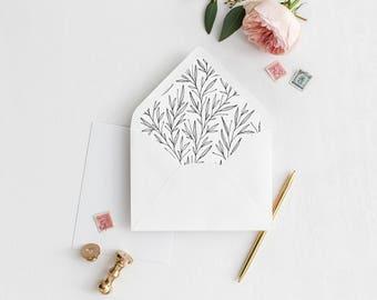 Leaves Envelope Liner | Printable Envelope Liner | Floral Wedding Envelope Liner | A7 & A6 Envelope Liners | Rustic Envelope Liners