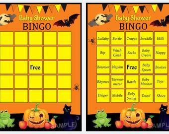 Halloween Baby Shower Bingo, Halloween Baby Shower Bingo Cards - pumpkin baby shower Bingo Card , Blank Bingo Cards AND PreFilled Cards