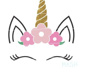 Floral Unicorn svg, floral unicorn head svg, unicorn with flowers svg, unicorn baby shower svg, birthday girl svg, baby girl svg