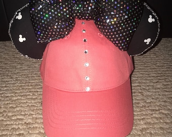Disney Mickey Mouse Print Hat (Coral Pink)