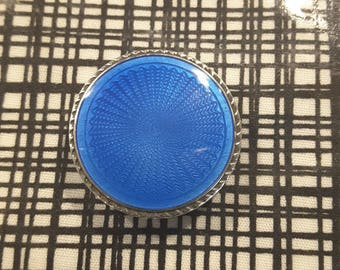 Antique fine enamel set in Sterling Silver button.