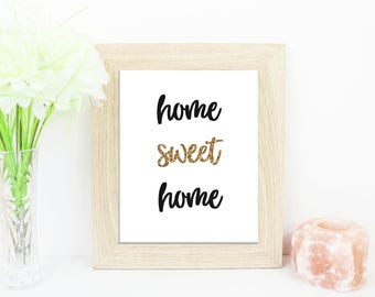 Glitter Home Sweet Home Instant Download Wall Art