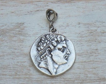 Old World Alexander the Great Silver Charm with Bail, Alexander Charm