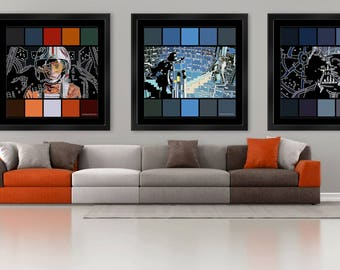 Set of 3x Darth Vader & Luke Skywalker Limited Edition Star Wars SquareBit 1 Metre Square Large Format Wall Art Prints