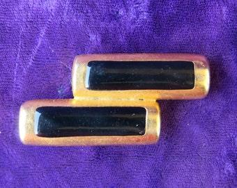 broche vintage style art-déco en métal doré et laqué noir / Georges Rech,brooch art-deco style gilt metal & black lacquered,
