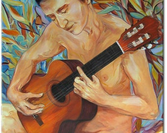 Guitarist... with flowers, original painting, figurative art |  a well-chosen gift | ready to hang in a public place or 'home sweet home'