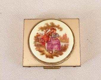 Vintage Compact mirror case with porcelain lid