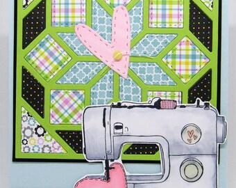 Handmade Card - Sewing Card - Quilting Card - Thank You Card - Sewing Machine Card - Papercraft - Paper pieced
