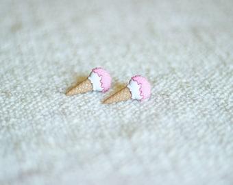 Ice Cream Cone Stud Earrings