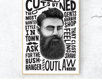 Ned Kelly Poster, Digital Print, Post-Modern Print, A4 A3 Home Decor