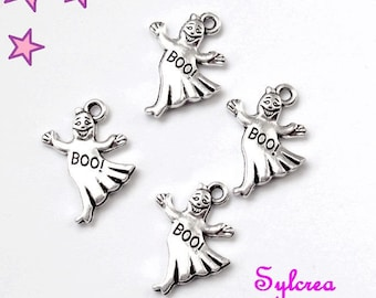 4 21 X 16 mm silver ghost charms