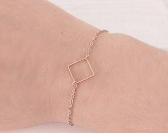 Square geomettrique Golden brass bracelet