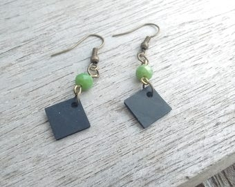 Earrings diamond in inner tube recycled and faceted green - dangle earrings with glass beads - fancy earrings