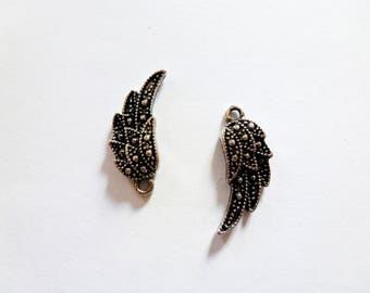 5 charms - wings - antique silver - 22 * 10 mm