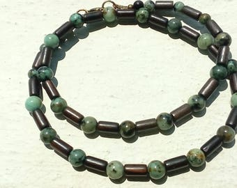 """Ebony and African turquoise"" necklace"