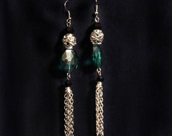 Green, Black, and Silver Earrings