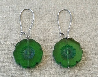 Transparent green Hawaiian Flower Earrings