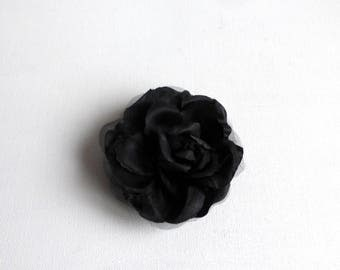 large black rose brooch satin accessory for weddings and evening chic