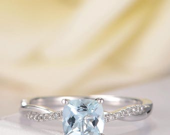 Unique Aquamarine Engagement Ring bridal Ring White Gold Diamond Infinity Eternity Antique Retro March Birthstone Anniversary Promise Women