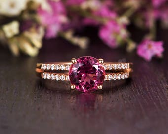 Pink Tourmaline Engagement Ring Antique Rose Gold Diamond Double Band Rubellite Wedding Bridal Birthstone Women Gift Solitaire Promise Retro