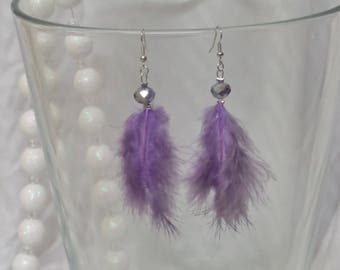Purple feather earrings and faceted glass bead