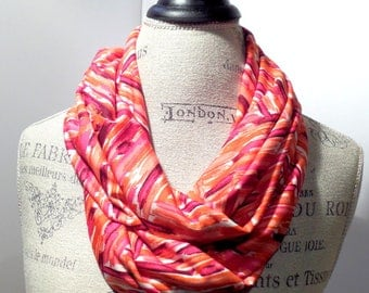 Infinity Scarf Pink Red Herringbone Print Made with ITY Knit Stretch Fabric