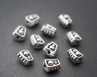 10pcs - small tribal ethnic spacer beads, tube, cone, triangle • Silver • 5mm