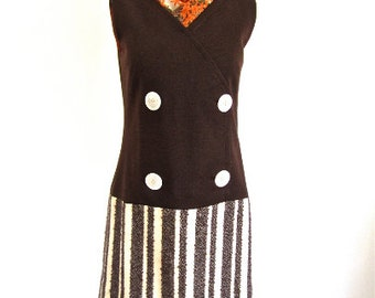 M 60s Mini Dress by Dina California Mod Double Breasted Brown Wool Nubby Striped Skirt Cream & Brown Mod Medium