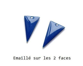 Set of 2 blue enamel Triangles, 22x13mm charm sequin studded with 2 sides