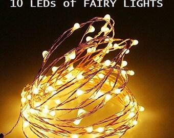 20 Pack of 10 LEDs Fairy Lights, Wedding Decorations lights, LED Mason Jar light Wedding Decor, firefly Lights, Halloween fairy lights