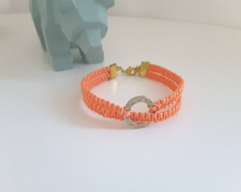 Woven bracelet women, orange and gold connector ring