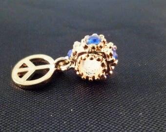 1 blue 22 mm rhinestone gold charm