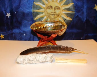 """White Sage Smudge Kit with Palo Santo, 5.5-6"""" Abalone Shell, Stand and 10-12"""" Feather"""