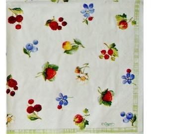 Set of 3 summer berry FRU058 paper napkins