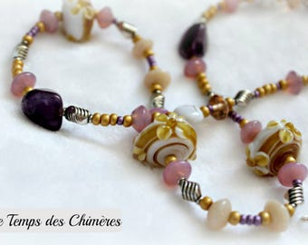 Long necklace beige pink and purple glass flowers and Amethyst gemstones