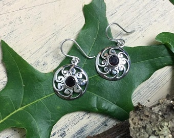 Silver Artisan crafted garnet earrings
