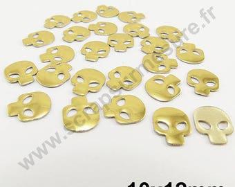 Fusible skull - gold - 10mm - x 25 PCs