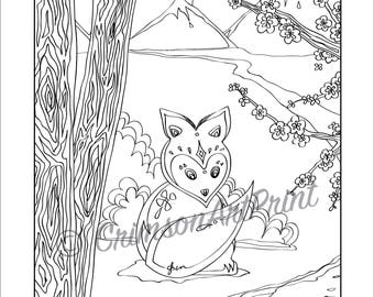 Fox In Forest Print Nature Animal Illustrations Asian Style Whimsical And Abstract Art