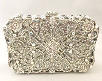 Silver Crystal Bridal Wedding, Party, Prom, Formal Event, Evening Clutch Bag