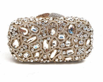 Gold Clutch, Crystal Clutch, Bridal Clutch, Wedding Clutch, Indian Clutch, Prom Clutch, Evening Clutch Bag, Purse, Gift for Her
