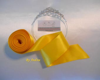 Double faced bright yellow, 5 cm width, good quality satin ribbon