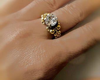 Cabochon ring round Crystal 14 k gold filled and Swarovski Crystal