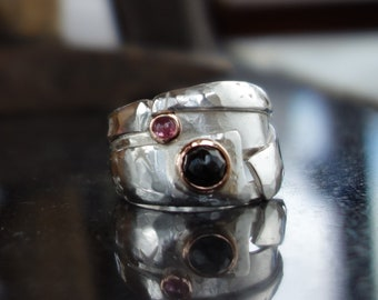 Man silver ring black stone ring, ring, Ruby red gold, heavy ring, designer ring, silver ring men, rustic ring