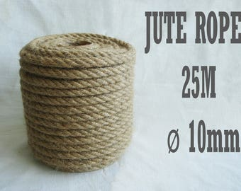 Natural High Quality Jute Rope, Jute Cord, 10mm, 25 meter