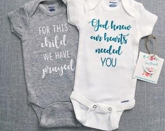 For This Child We Have Prayed Onesie®   God Knew Our Hearts Onesie®   Baby Boy Onesie®   Baby Girl Onesie®   Custom Baby Onesie®   IVF Baby